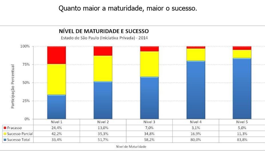Obtenção do sucesso em função de investir na obtenção da maturidade no gerenciamento de projetos